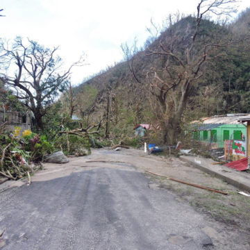 Road in front of Soufriere Primary School